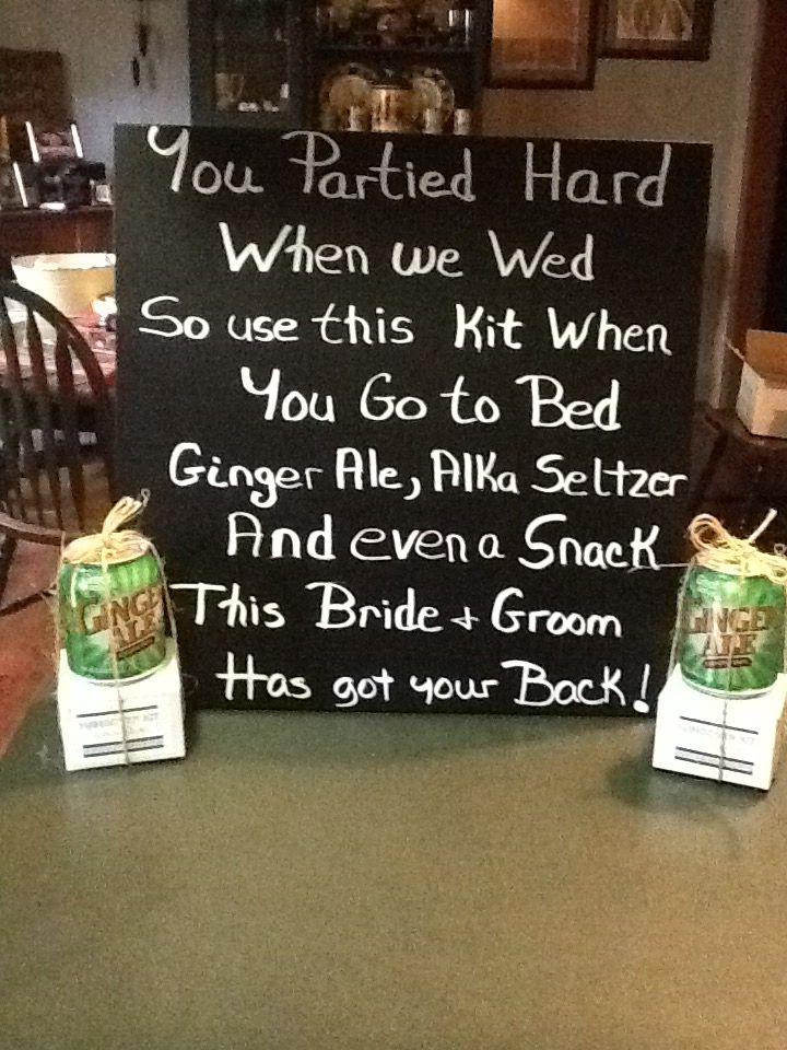 Wedding Hangover Kit poem sign