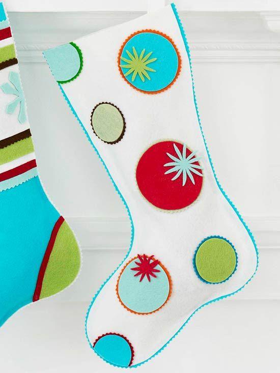Felt Circle stocking with pattern