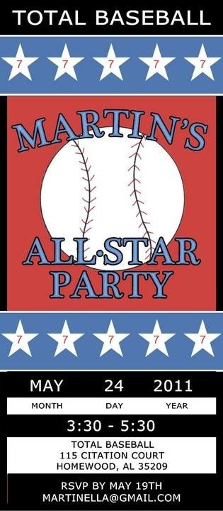 baseball party them invitation