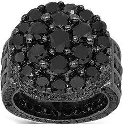 10K Gold Black Rhodium Plated Mens Diamond Pinky Ring 14.89 Ctw