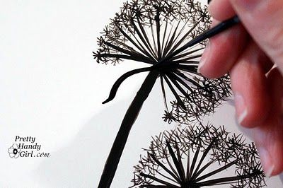 how to paint your own dandelions: Paintings Dandelions, Drawing Paintings, Wall Graphics, Wall Murals, Dandelions Wall, Dandelions Art, Drawings Dandelions, Diy, Dandelions Paintings