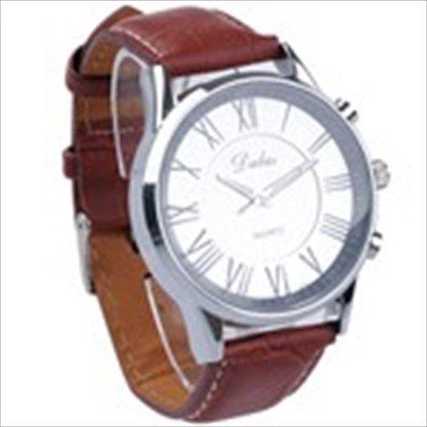 Stylish Brown Men's Analogue Quartz Wrist Watch Wristwatch with Leather Strap Round Face