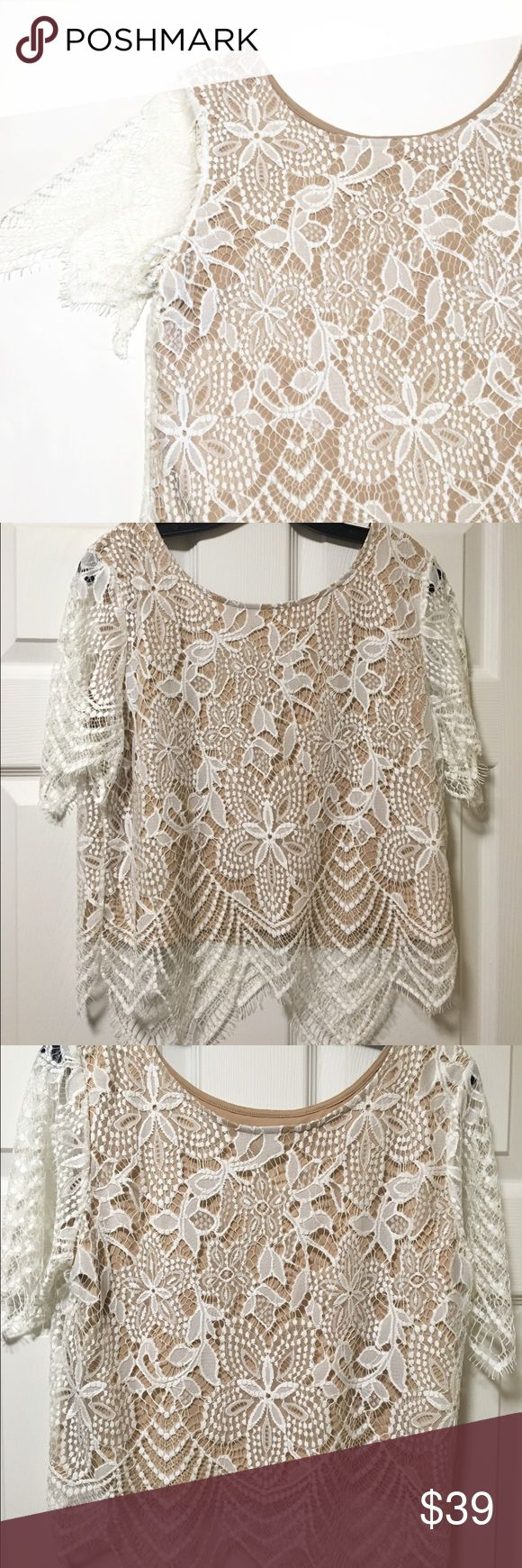 NWOT Express White Lace Tee Beautiful Express White Lace Tee. In oerfect preworn condition with nude underlay. Express Tops Blouses
