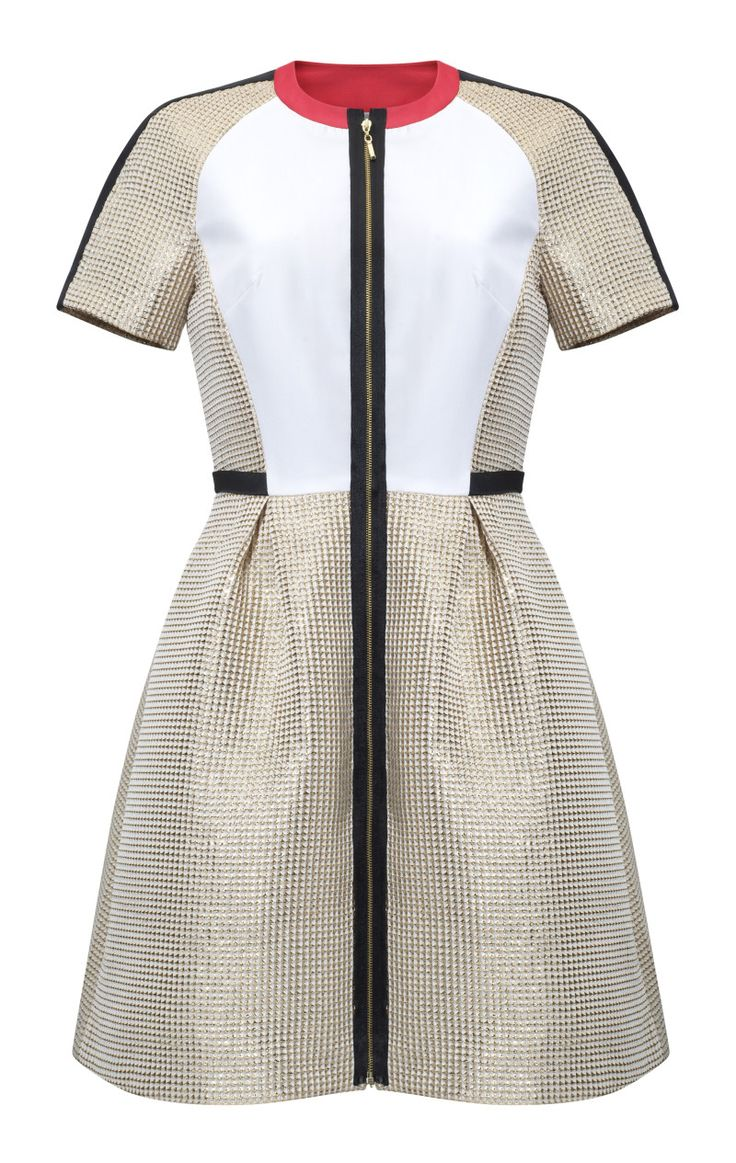 Kosmal, Lucky Me, resort 2016, zipper dress (gold, white). To download high or low resolution product images view Mondrianista.com (editorial use only).