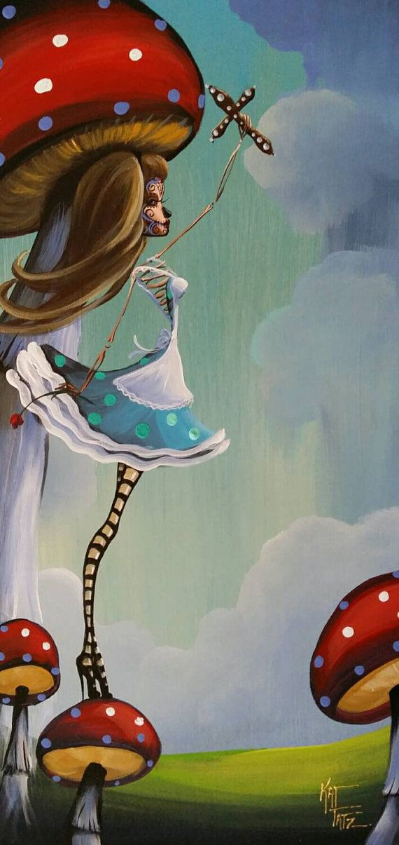 Original Painting Day Of The Dead Alice in Wonderland Mushrooms Roses Art Hearts Award Winning Artist Kat Tatz Acrylic on Wood Panel Flowers