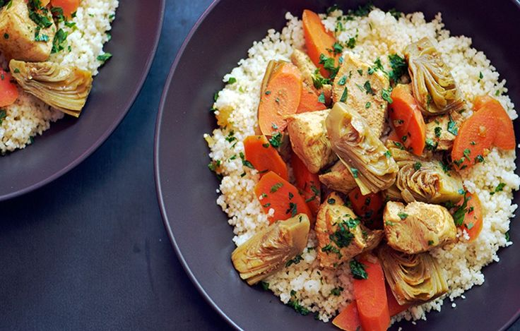 Moroccan Chicken Stew with Artichoke Hearts and Carrots (sub cauli rice for Paleo/Whole30)