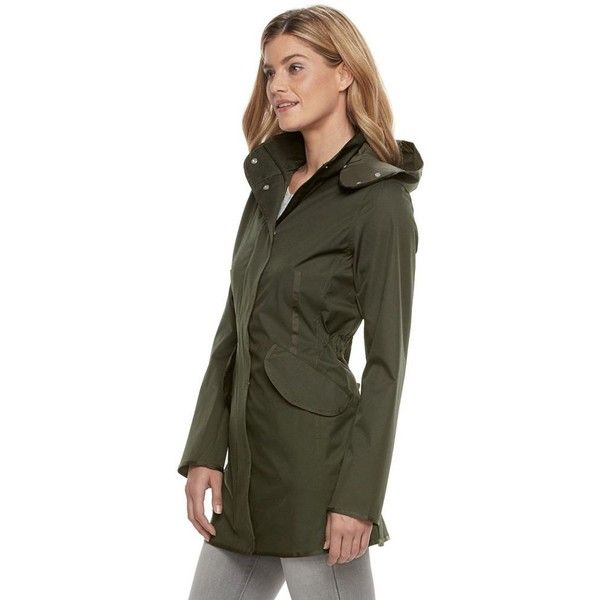 Women's Weathercast Hooded Performance Walker Rain Jacket ($105) ❤ liked on Polyvore featuring outerwear, jackets, green, hooded jacket, lightweight rain jacket, light weight rain jacket, green hooded jacket and rain jacket