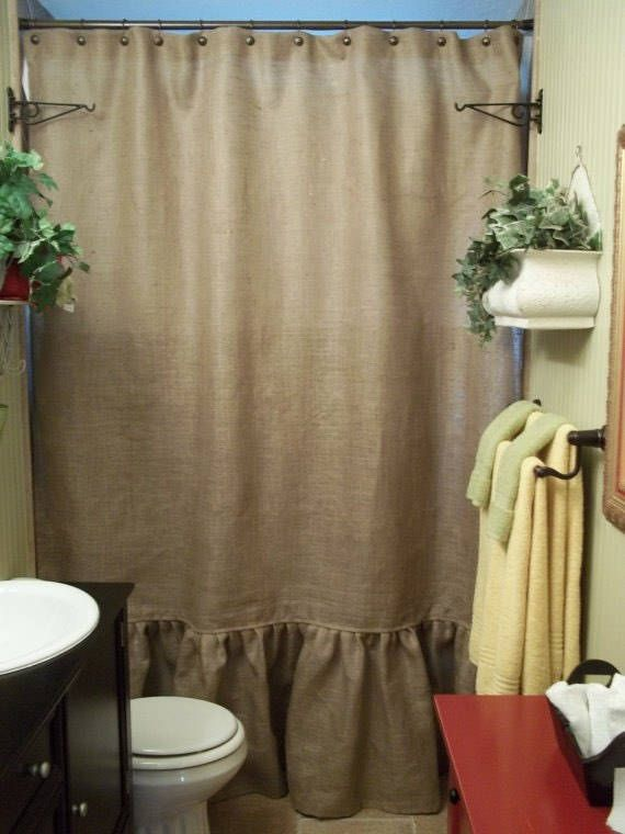 Natural Burlap Shower Curtain With Ruffle Fringe Handmade 72 Wide Panel Country Look Rustic Bathroom