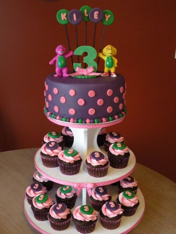 cake and cupcakes? maybe.....different color scheme, though, but i like the Barney and BJ toppers and stuff
