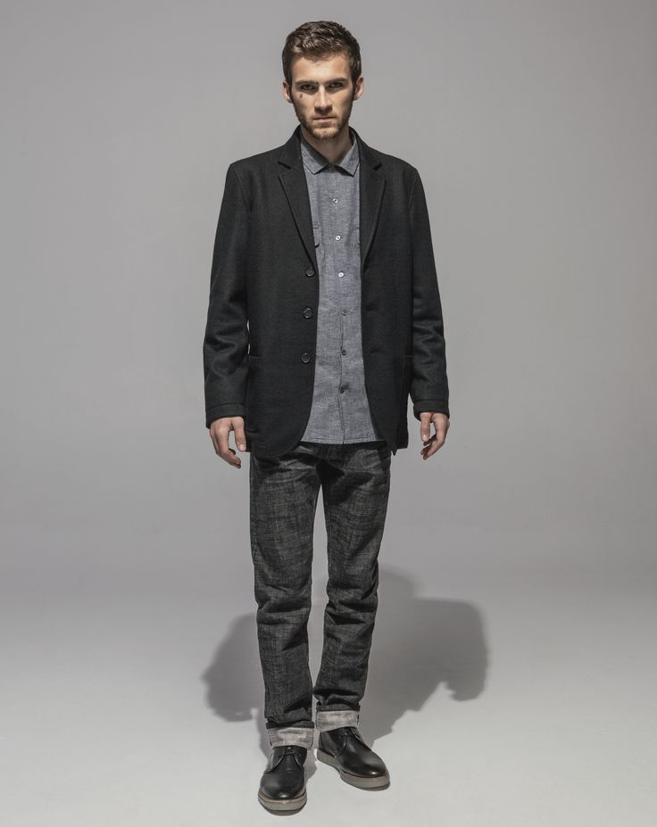 1/2 Lined Wool Jersey Jacket (Black) Japanese Yarn Dyed Chambray Revere Collar Shirt (Grey) Slim Fit Cross Hatch Selvedge - RAW (Black)
