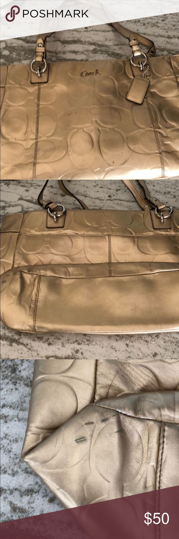 Metallic Coach tote bag Unique metallic color-like a rise/peachy gold.  Silver hardware.  Embossed leather with minimal signs of wear-some little stains.  I'm thinking with a little leather cleaner, this will be like new.  Interior has a zip and 2 open pockets and is in excellent condition.  Tote does zip close. Coach Bags Totes