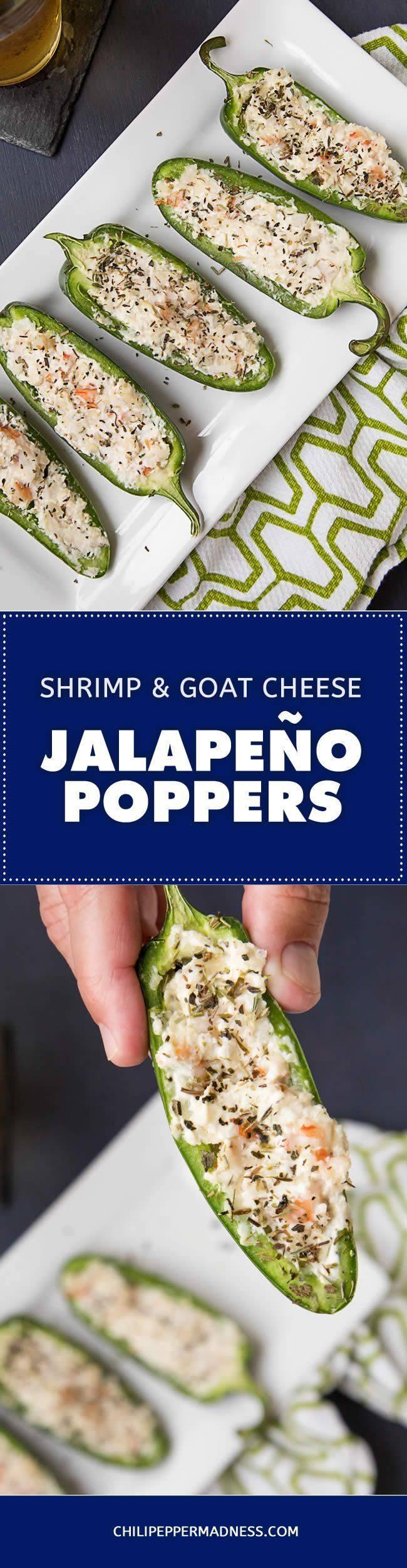 Shrimp and Goat Cheese Jalapeno Poppers – Bust out the appetizers for your next party with this recipe of jalapeno poppers stuffed with a mixture of goat cheese, Parmesan, seared shrimp and loads of herbs. It's popper time!   #jalapeno #jalapenopoppers #poppers #appetizer #partyfood #gameday #gamedayfood #recipe #recipeoftheday #recipeideas #recipesharing #chilipeppermadness #spicyfood #spicylife #delish #tasty #foodblogeats #spicy #recipes #ilovecooking #feedfeed #buzzfeast #cookit…