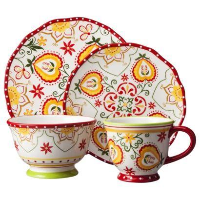 Threshold™ 16 Piece Naomi Dinnerware Set - Red  sc 1 st  Pinterest & 40 best Dishes - red dinnerware images on Pinterest | Dish sets ...