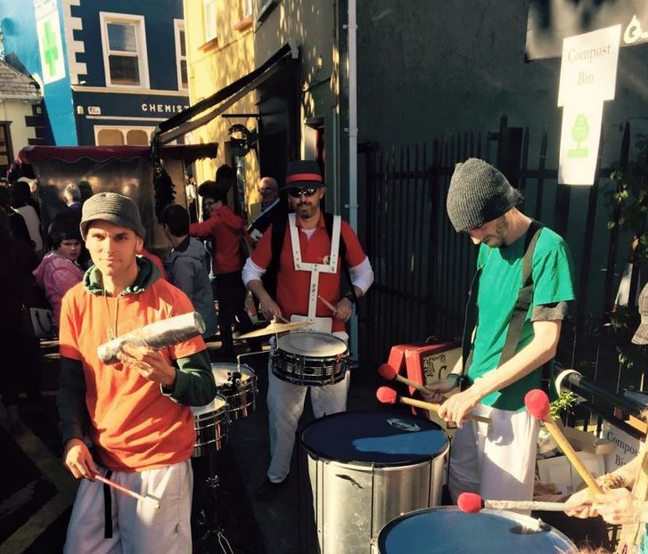 Dingle Carnival Band providing the rhythm at the Dingle Food Festival 2016 outside Grey's Lane Bistro.