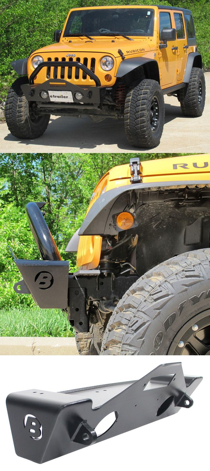 Narrow jeep wrangler bumper features tapered ends that ensure maximum tire clearance provides protection for