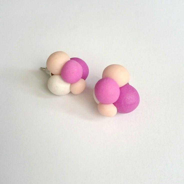 Bubbles Stud Earrings , Polymer Clay Studs, Pastel Purples Handmade Earrings, Colourful Stud Earrings, Ball Studs, Everyday Earrings by BeeJouJoux on Etsy
