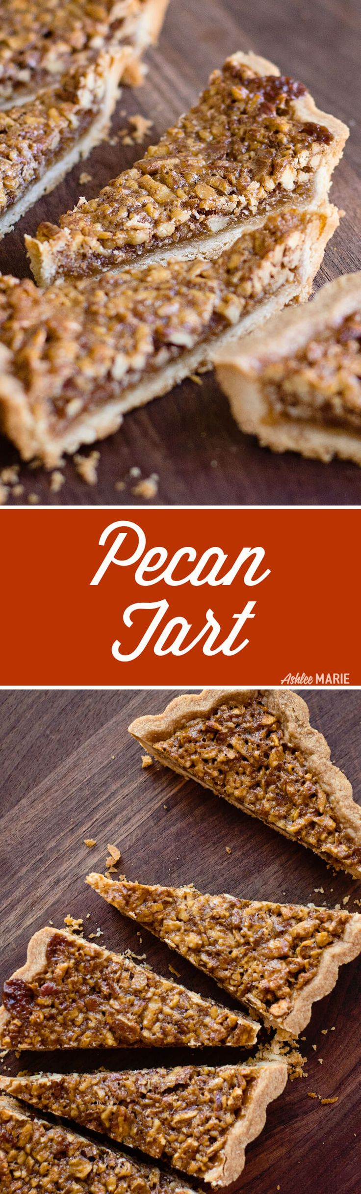 An easy cookie-like crust, with a gooey pecan filling, this Pecan Tart is one of my most-requested desserts. | Ashlee Marie | Winter | Holiday | Dessert | Party Food | Christmas | #holidaydessert #holidaytreats #christmasdessert #holidayrecipes