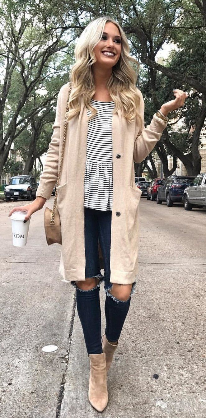 #fall #outfits women's brown button-down coat