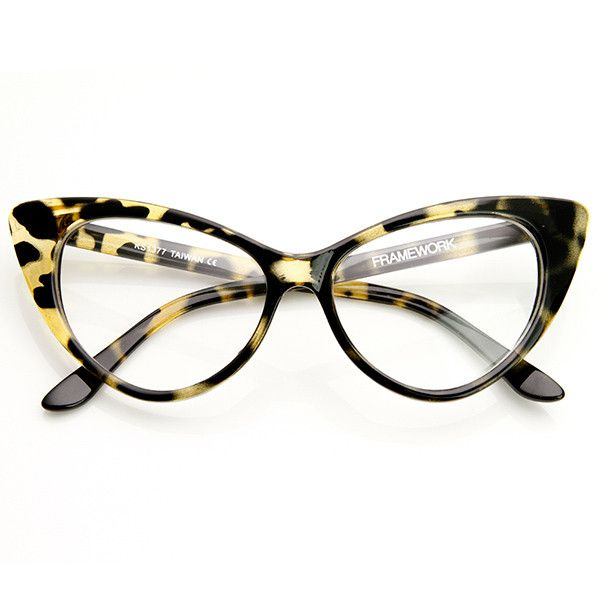 1950's Vintage Mod Fashion Cat Eye Clear Lens Glasses