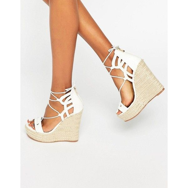 Daisy Street Tie Up Wedge Espadrilles (875 MXN) ❤ liked on Polyvore  featuring shoes - The 25+ Best White Espadrille Wedges Ideas On Pinterest