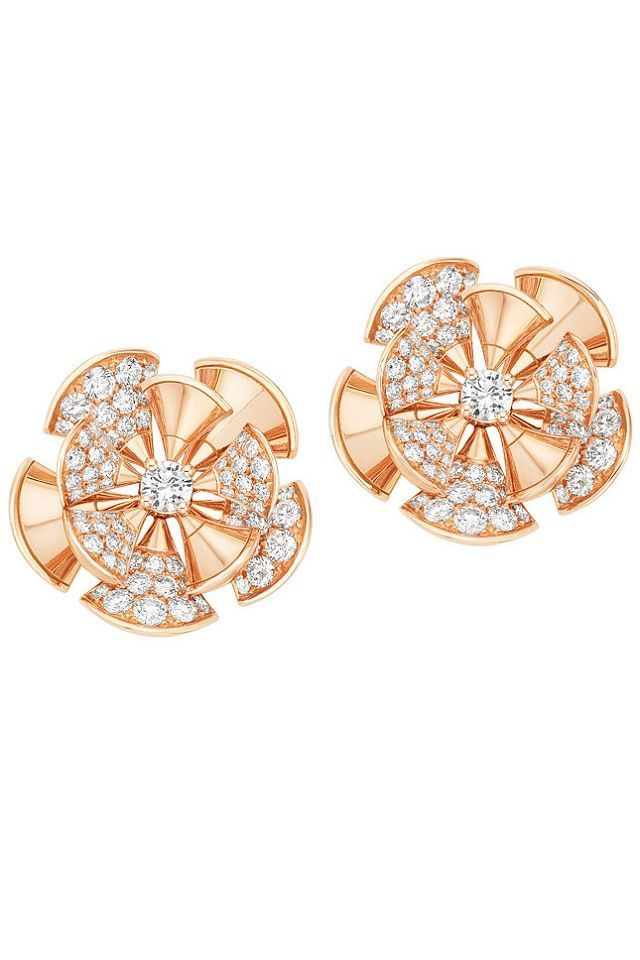 pink gold and diamond earrings complete this pretty floral suite in bulgaris diva collection
