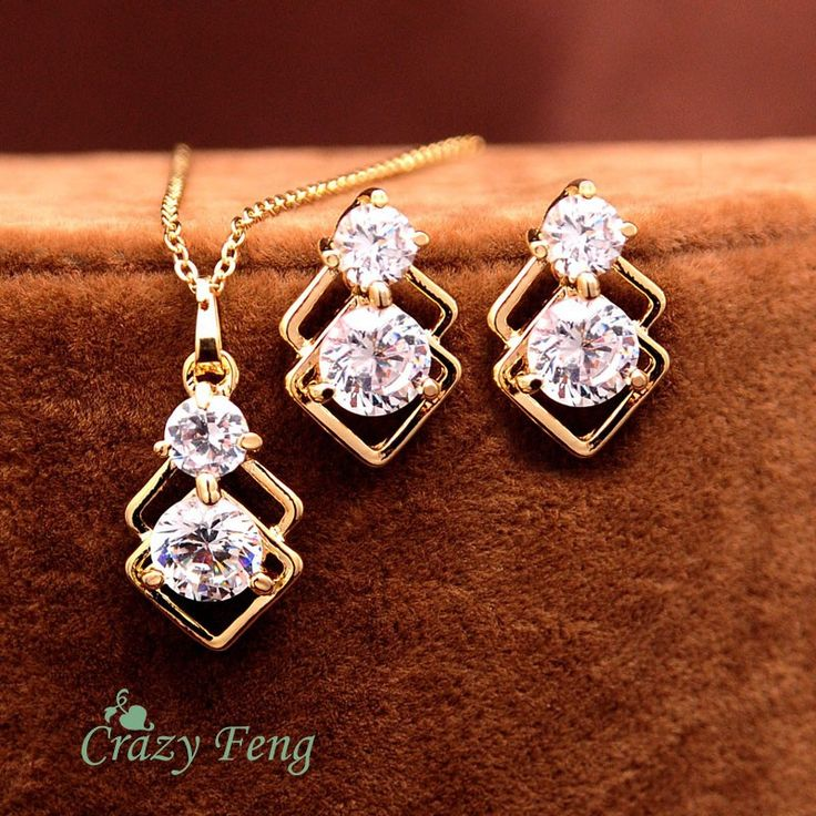 Fashion Women Gold Plated Jewelry Set CZ Stone Pendant Necklace + Earrings Crystal jewelry Wedding Jewelry Sets