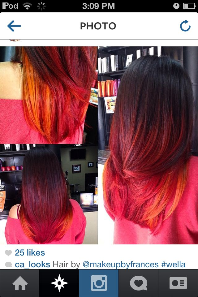 Straight Brown And Pink Ombre Hair Traffic Club