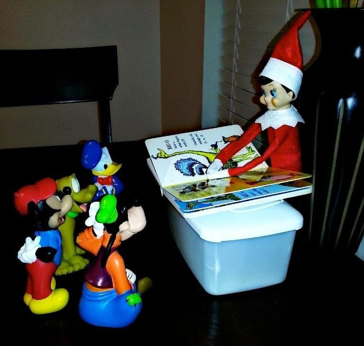 Elf on a Shelf (reading to his farmer men and animals>?)