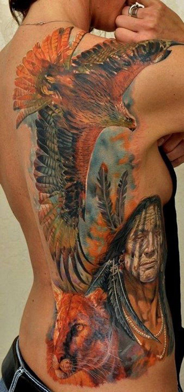 Native American inspired eagle tattoo – one of the most powerful bird considered by native Indians. The coloful back tattoo with tiger represents strength, power and protection for the wearer.