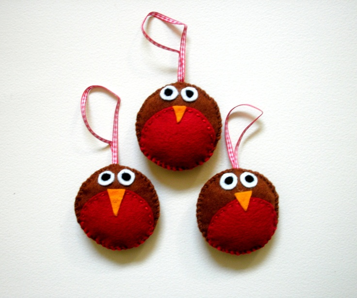 Felt Christmas Decorations Set of Three Hand by handmaderaspberry