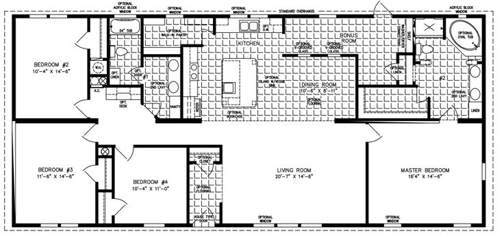 Manufactured Home Floor Plan: The Imperial • Model IMP-46820W  4 Bedrooms, 2 Baths
