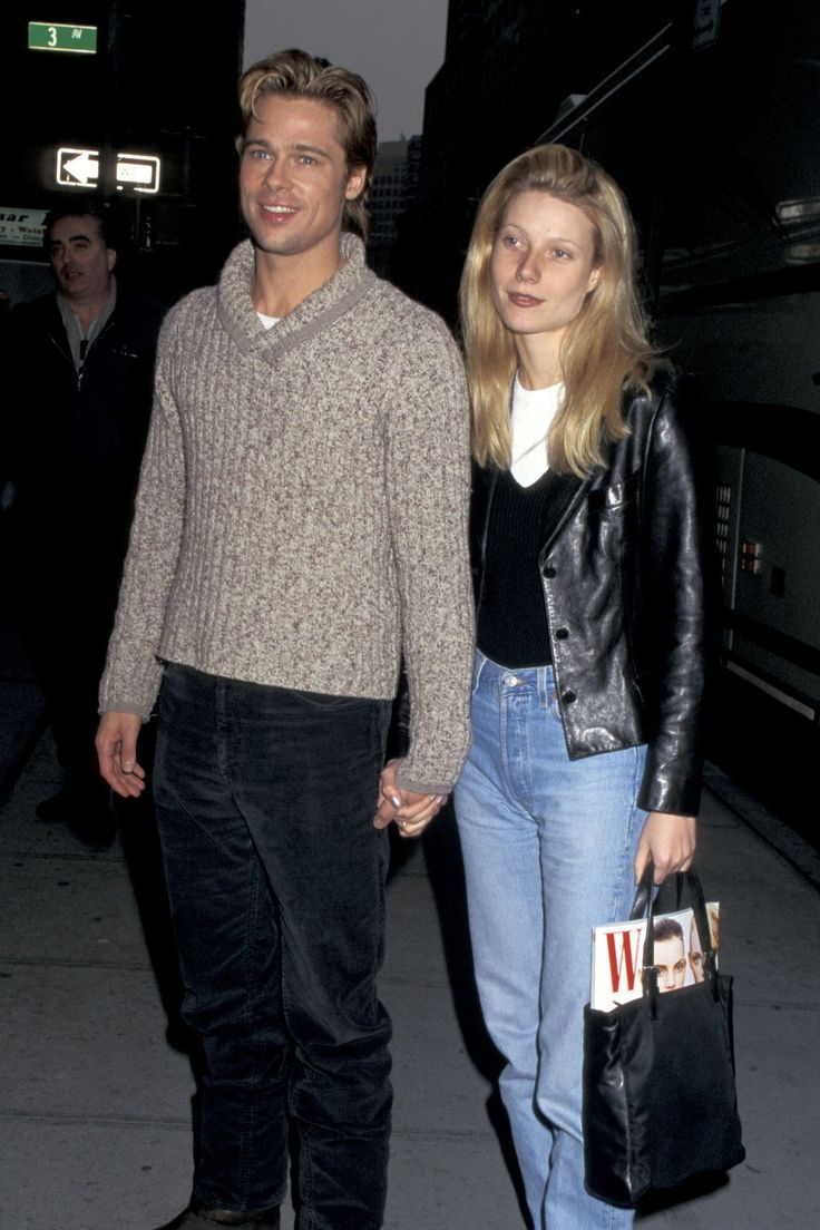Gwyneth Paltrow and Brad Pitt on the set of The Devil's Own in New York City, February 1996.