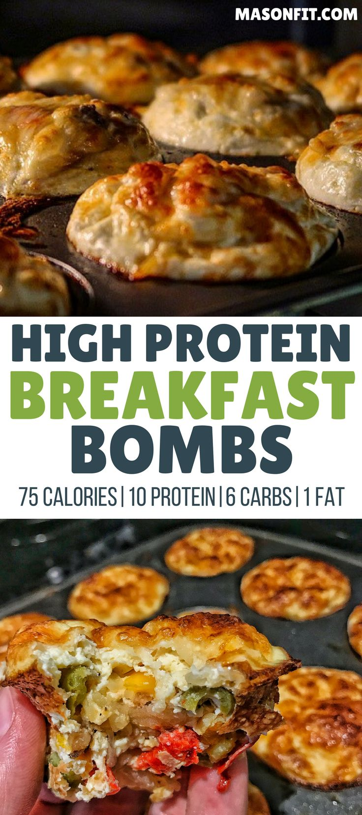 A high protein breakfast recipe that's as easy as adding ingredients to a muffin tin! Recipe includes both sausage and meatless options. Only 75 calories per breakfast bomb!