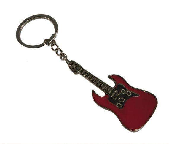 Individuelle Gravur Keyring rote Gitarre von customengravedgifts