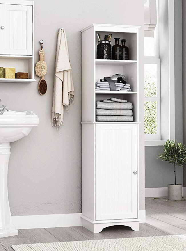 Amazon Com Spirich Home Freestanding Storage Cabinet With Three Tier Shelves Tall Slim Cab Bathroom Freestanding Tall Bathroom Storage Bathroom Storage Tower