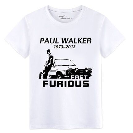 ==> [Free Shipping] Buy Best Latest The Fast And Furious 7 Movie Paul Walker Souvenir Memorial Short Tee Shirt Mens O Neck Plus Size XXL White Tshirts Online with LOWEST Price   32335062208