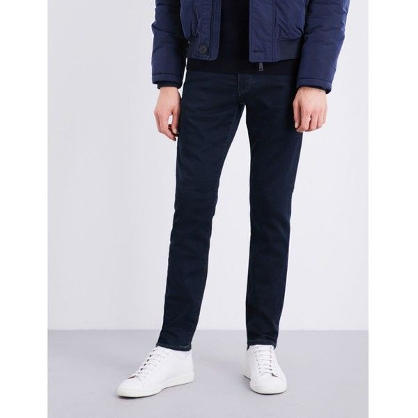 Armani Jeans Slim-fit tapered stretch-cotton chinos ($150) ❤ liked on Polyvore featuring men's fashion, men's clothing, men's pants, men's casual pants, mens stretch pants, mens slim fit pants, mens slim fit chino pants, nike men's stretch woven pants and mens chino pants