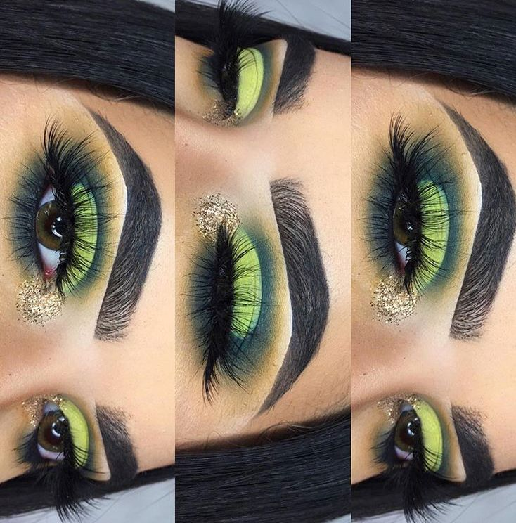 Green half-cut crease eyeshadow w/ gold glitter inner corner