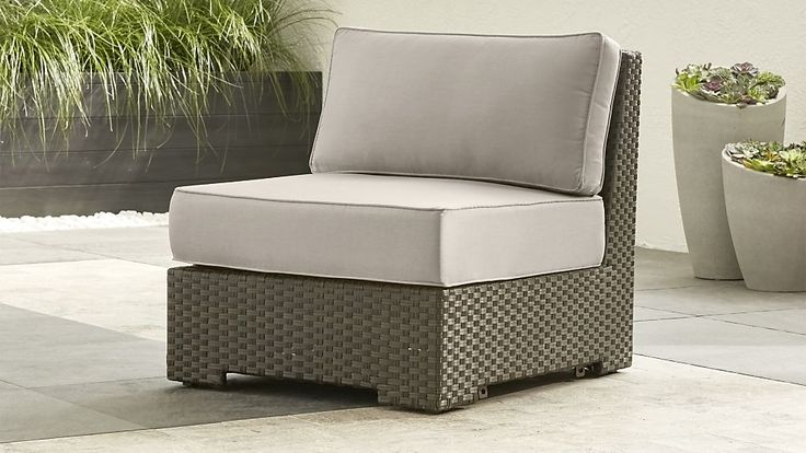 Ventura Modular Armless Chair with Sunbrella ® Cushions | Crate and Barrel