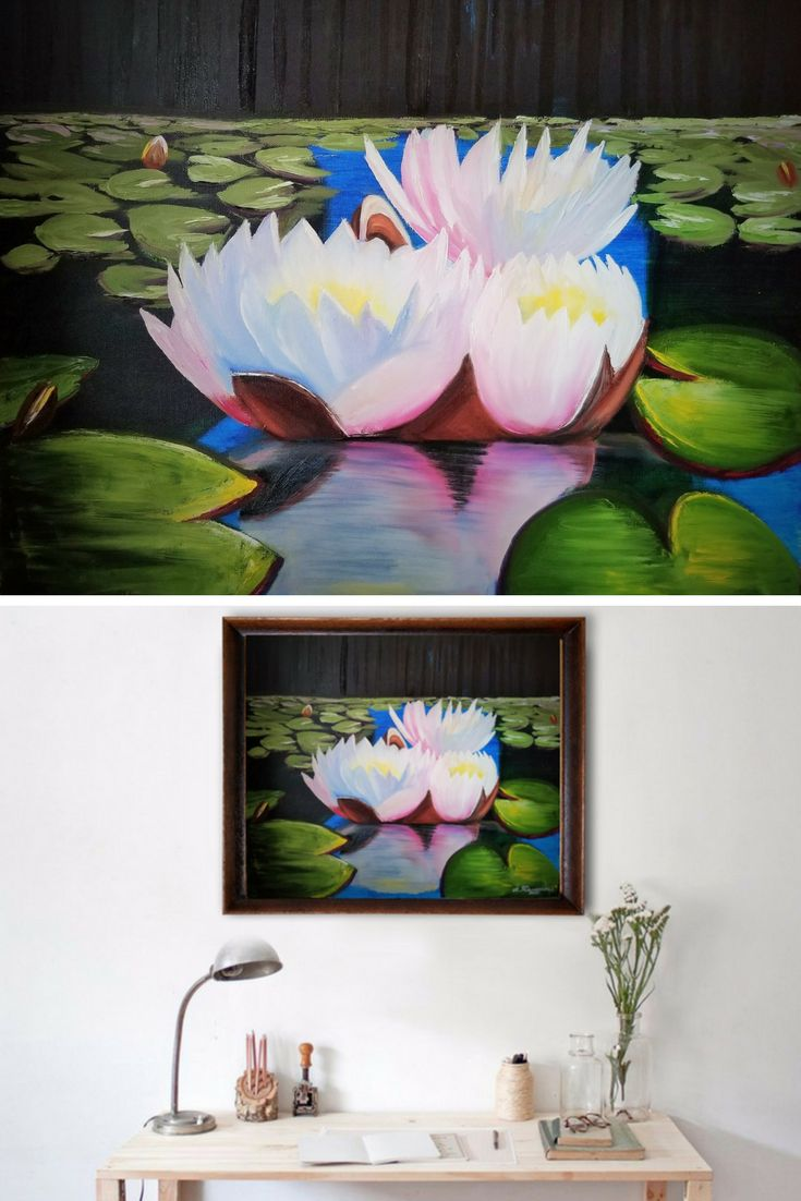 """Water Lilies (Nymphéas). Christmas Gift. New Year Gift. Wall Art. Home Decor. Gift for her. Wall Decor. Original Oil Painting on Canvas. 20"""" x 24"""". 50 x 61 cm. 2017.  CAD 380 Unframed. Painted Edges. Ready to Hang. AVAILABLE FOR IMMEDIATE PURCHASE.   I have created this beautiful piece by hand so you can enjoy it in your own home. Display it in your own house or office to brighten up any room. It will make a great gift, too."""