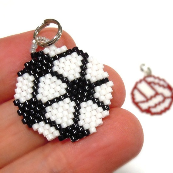 Beaded Volleyball or Soccer Ball Charm by HandmadeCute on Etsy, $4.40