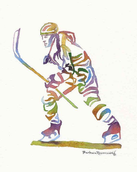 Ice Hockey Olympic Sport Athlete Painting Art Print Watercolor Reproduction of Original Barbara Rosenzweig, Home Decor Birthday Boy Man Gift on Etsy, $37.00