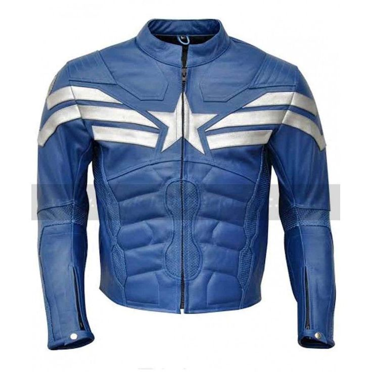 HANDMADE CAPTAIN AMERICA EASY RIDER JACKET FOR MEN, BLUE LEATHER JACKET #Handmade #Motorcycle