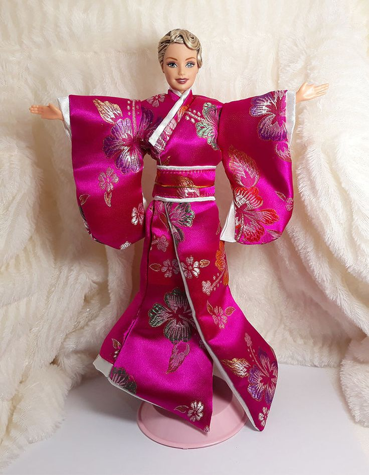 Deep Pink Flower Vintage Japan Kimono Geisha Style Outfit Dress For Barbie Doll #Sitar_Large_Super_Rich