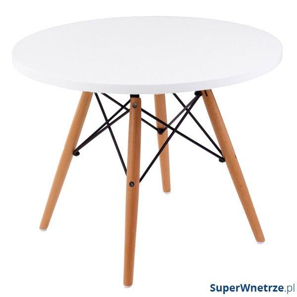Stolik DTW średnica blatu 60 cm biały, drewniane nogi DK-18330