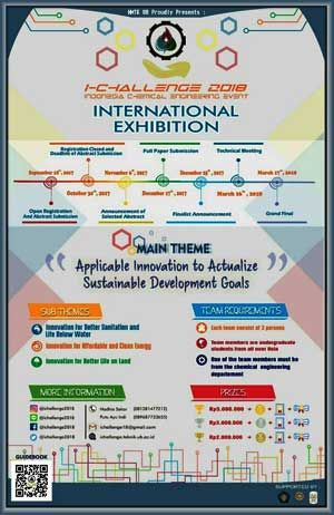 #IChallenge #Indonesia #Chemical #Engineering #Competition i-Challenge 2018 Indonesia Chemical Engineering Event  DEADLINE: 29 October, 2017  http://instuco.com/international-student-competition.php?title=i-challenge-2018-indonesia-chemical-engineering-event