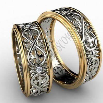 Обручальные кольца «Бесконечность» из комбинированного золота с бриллиантами