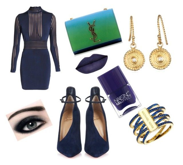 ♡ by mariuccia1 on Polyvore featuring polyvore fashion style Balmain Christian Louboutin Yves Saint Laurent Michael Kors Nails Inc. clothing