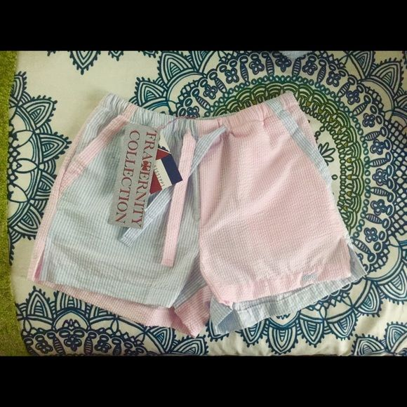 Fraternity Collection Pajama Shorts Brand new light blue and pink seersucker pajama shorts. Fraternity Collection Shorts