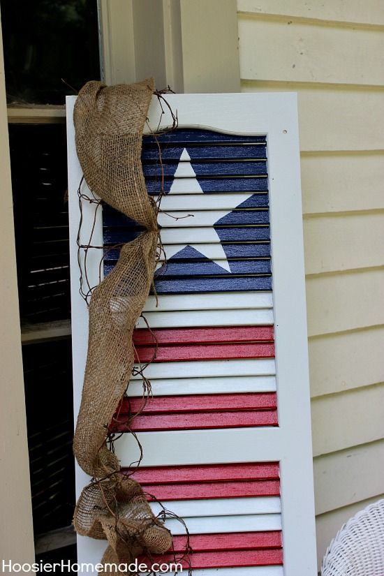 DIY Patriotic Shutter | Instructions on HoosierHomemade.com